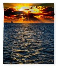 Sailboat Sunburst Fleece Blanket