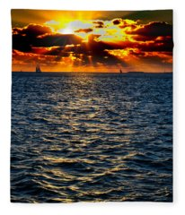 Sailboat Sunburst Fleece Blanket