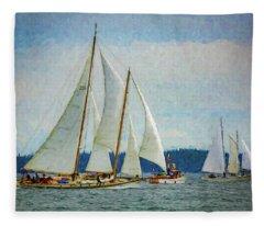 Sailboats On Puget Sound 103 Fleece Blanket