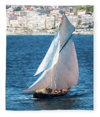 Sailing At Cannes Portrait Two Fleece Blanket