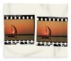 Sailing At Sunset On The Great Peconic Bay Fleece Blanket