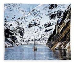 Sailing Into Trollfjord Norway Fleece Blanket