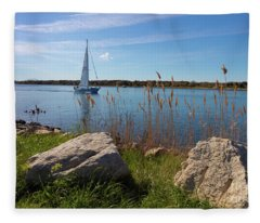 Sailing On The Cape Cod Canal Fleece Blanket