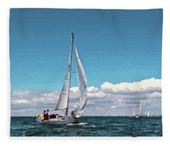 Sailing Regatta On A Brisk Summer's Day Fleece Blanket