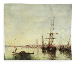 Sailing Ships-fitting And Gondola In The Port Of Venice Fleece Blanket