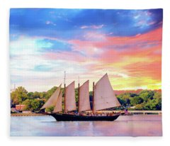 Sails In The Wind At Sunset On The York River Fleece Blanket