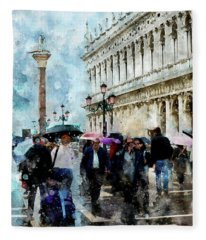 Saint Theodore Sculpture At Saint Mark Square Fleece Blanket