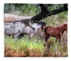 Salt River Wild Horses Fleece Blanket