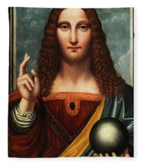 Salvator Mundi Fleece Blanket