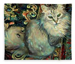 Samson The Silver Maine Coon Cat Fleece Blanket