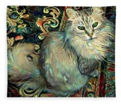 Samson The Silver Maine Coon Cat Fleece Blanket