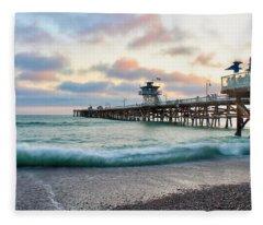 A San Clemente Pier Evening Fleece Blanket