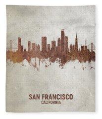San Francisco California Rust Skyline Fleece Blanket