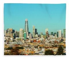 San Francisco Financial District From Dolores Park Fleece Blanket