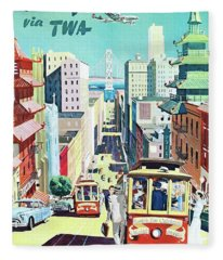 San Francisco Via Twa Travel Poster Fleece Blanket
