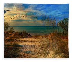 Sand Track To The Ocean At Dusk Fleece Blanket
