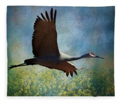 Sandhill Crane Art Fleece Blanket