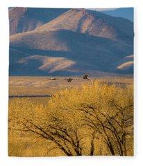 Sandhill Cranes Near The Bosque Fleece Blanket