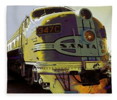 Santa Fe Railroad 347c - Digital Artwork Fleece Blanket