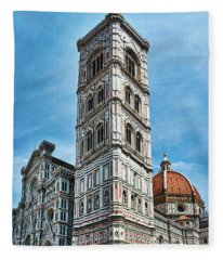 Santa Maria Del Fiore Cathedral Doorway And Bell Tower Fleece Blanket