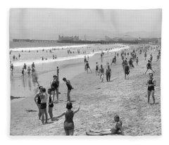 Santa Monica Beach Circa 1920 Fleece Blanket