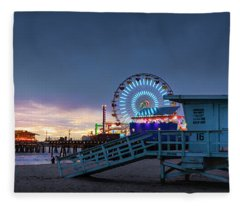 Santa Monica Lifeguard Tower 16 Fleece Blanket