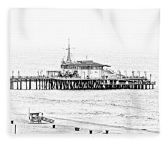 Santa Monica Pier  Bandw Fleece Blanket