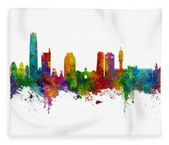 Santiago De Chile Skyline Fleece Blanket