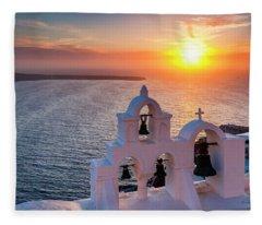 Santorini Sunset Fleece Blanket