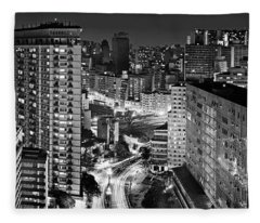 Sao Paulo Downtown By Night Fleece Blanket