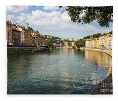 Saone River View Fleece Blanket