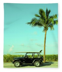 Saturday Surfer Jeep Fleece Blanket