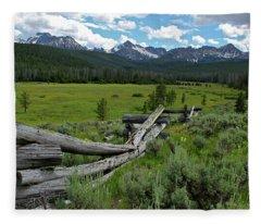 Sawtooth Range And 1975 Pole Fence Fleece Blanket