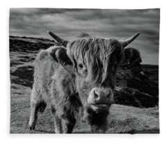 Saying Hello To A Highland Cow At Baslow Edge Black And White Fleece Blanket
