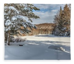 Scenic Moose River Fleece Blanket