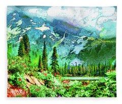 Scenic Mountain Lake Fleece Blanket
