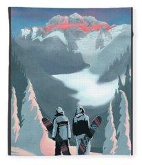 Scenic Vista Snowboarders Fleece Blanket