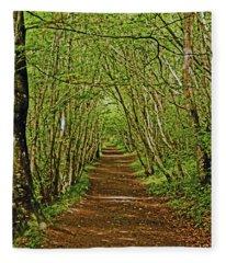 Scotland. Killiecrankie. Path Through The Trees. Fleece Blanket