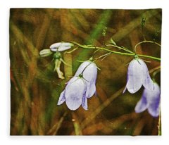 Scotland. Loch Rannoch. Harebells In The Grass. Fleece Blanket