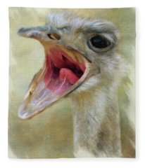 Screaming Ostrich Fleece Blanket