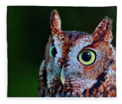 Screech Owl Face Fleece Blanket