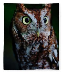 Screech Owl Vertical Fleece Blanket