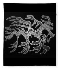 Sea Dragon Black And White Fleece Blanket