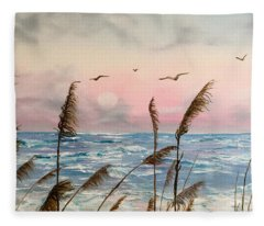Sea Oats And Seagulls  Fleece Blanket