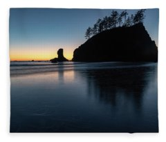 Sea Stack Silhouette Fleece Blanket