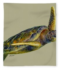 Sea Turtle 2 - Solid Background Fleece Blanket
