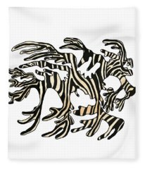 Sea Zebra Dragon In White Fleece Blanket