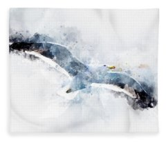Seagull In Flight With Watercolor Effects Fleece Blanket