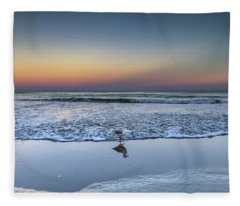 Seagull On The Beach Fleece Blanket