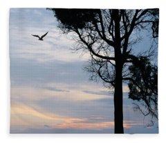 Seagull Sunset At Catawba Fleece Blanket